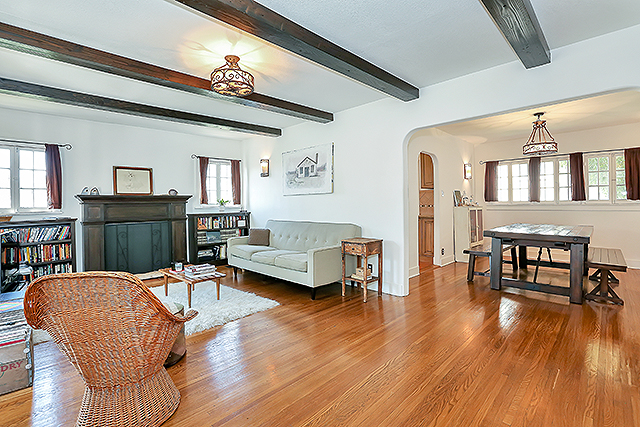 Mount Angeles 2 houses on a lot 1926 Spanish has beamed ceilings, original windows and hardwood floors