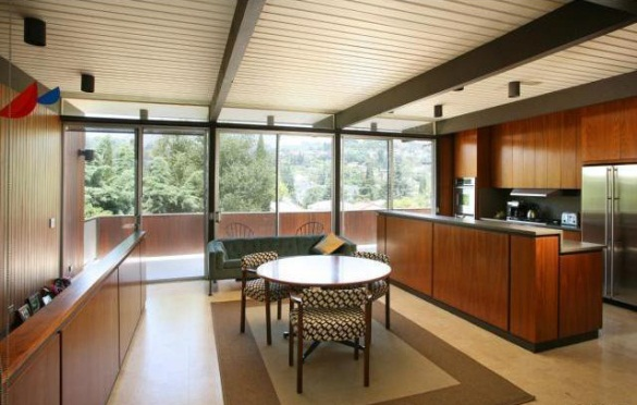 Ktichen of this 1962 Los Feliz post and beam opens to dining room