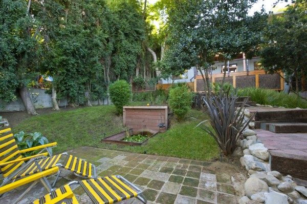 2252 Talmadge - backyard patio with raised vegetable garden in Franklin Hills
