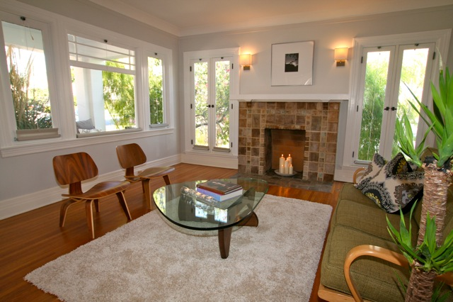 berendo bachelder fireplace in this Franklin Square Los Feliz Spanish
