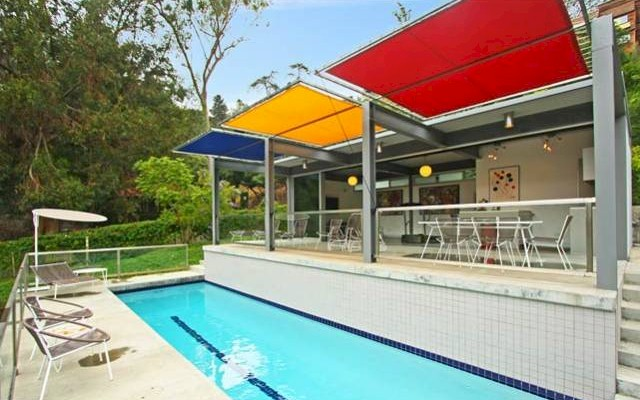 cool lap pool included in this  Los Feliz Oaks home