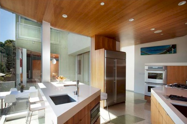 kitchen has a wall of glass and dramatic angles