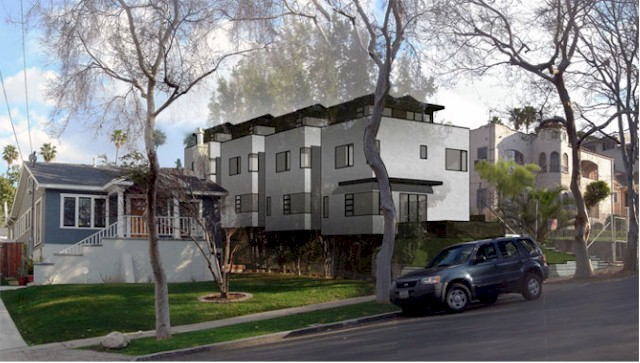 sleek and modern lines yet these small lot homes in Silver Lake fit right into the neighborhood