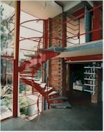 spiral stairway to loft in Allyn Morris Studio in Silver Lake