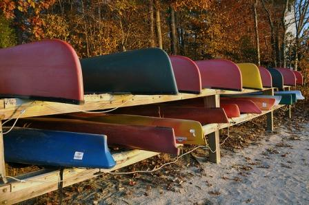 Canoes at Crabtree Creek Park in Morrisville NC