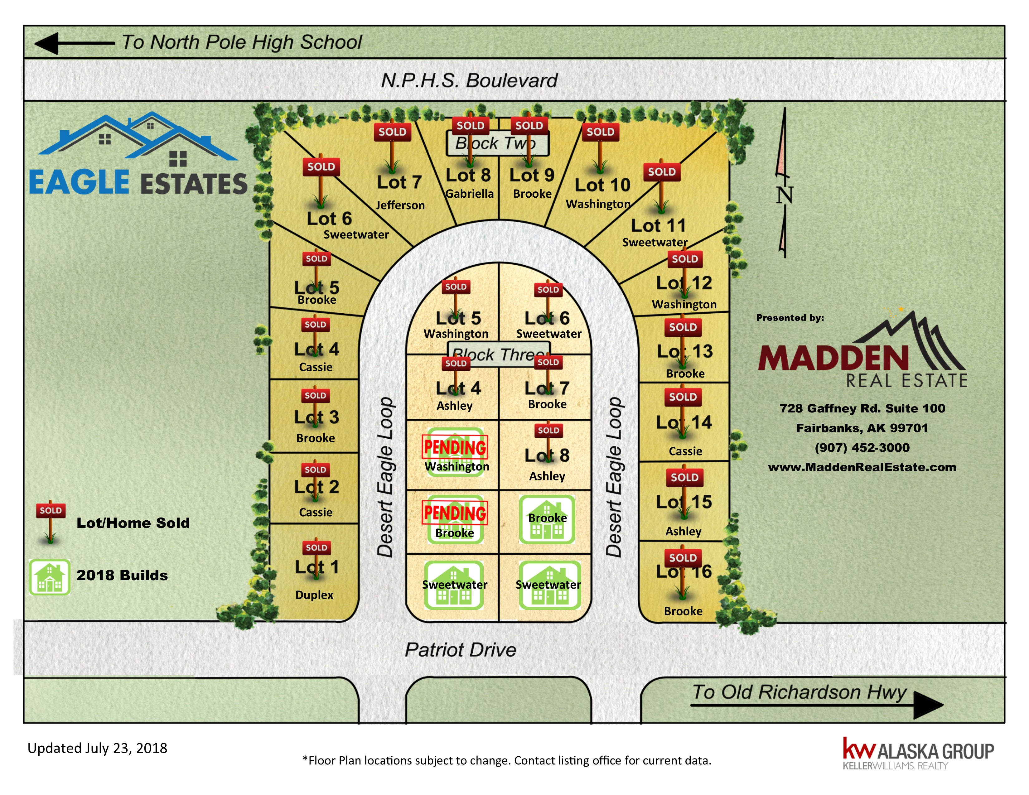 Current Availability of Lots in Eagle Estate Subdivision