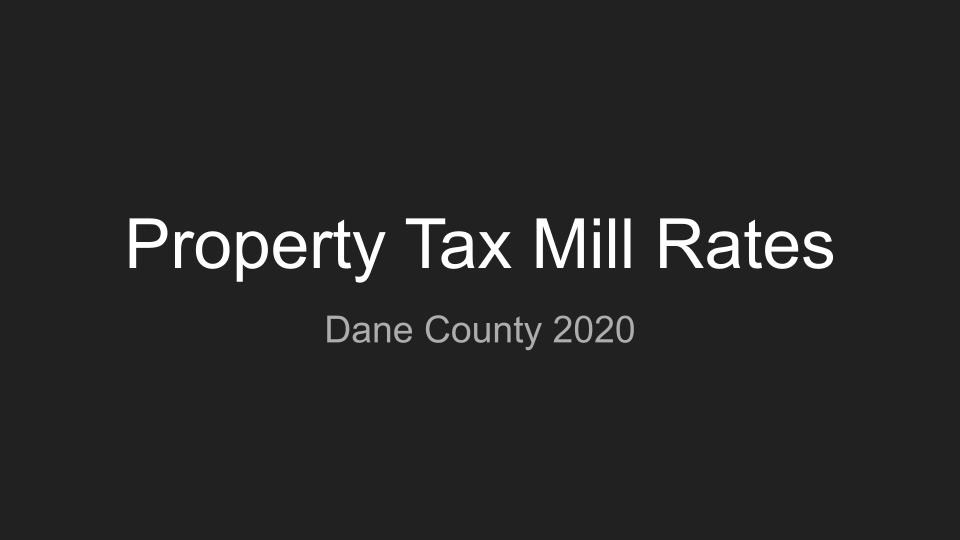 Dane County Mill Rates 2020