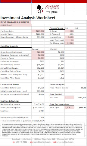 investment analysis worksheet