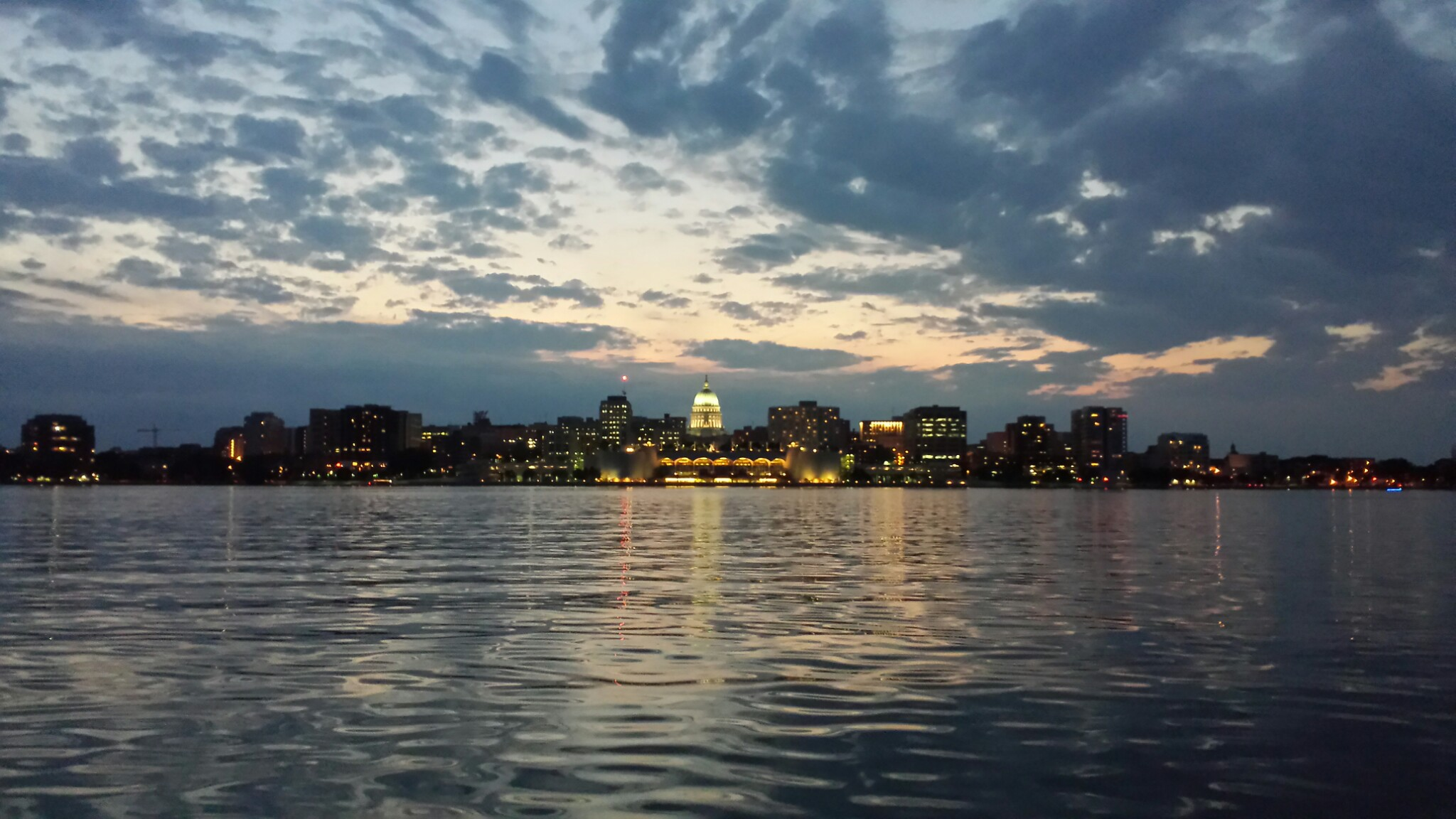 Madison skyline and sunset on Lake Monona