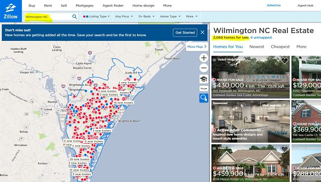 What Zillow shows as homes for sale in Wilmington