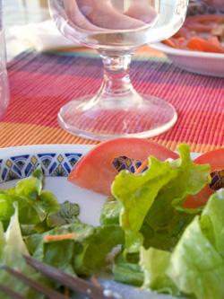 salad and wine glass