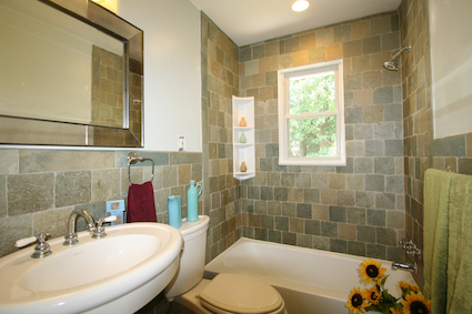 A gorgeous renovated main floor bath at 4 Shannon Court Silver Spring MD 20904