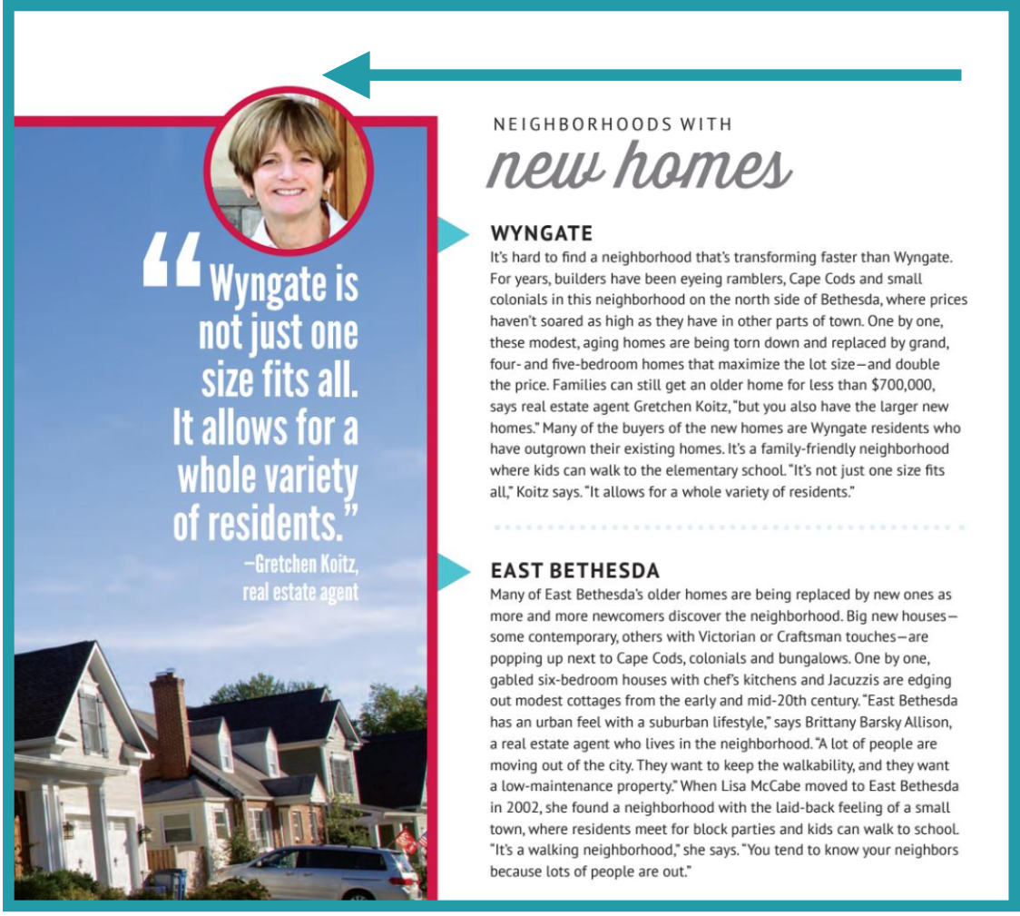 Gretchen Koitz in Bethesda Magazine About Bethesda Real Estate