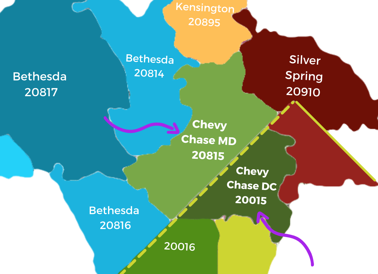 Chevy Chase Maryland & DC Map