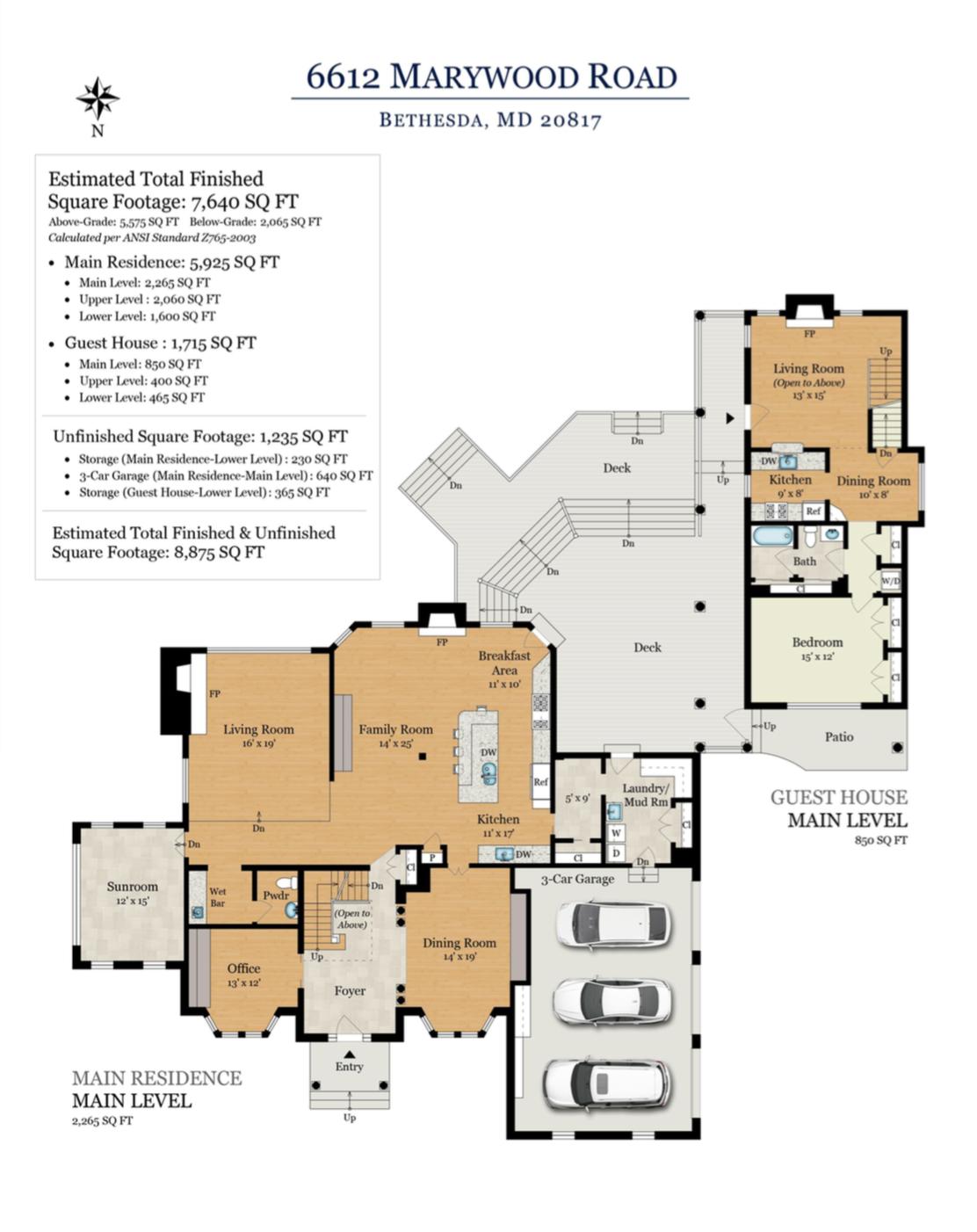 6612 Marywood - Bethesda - Main Level Floor Plans