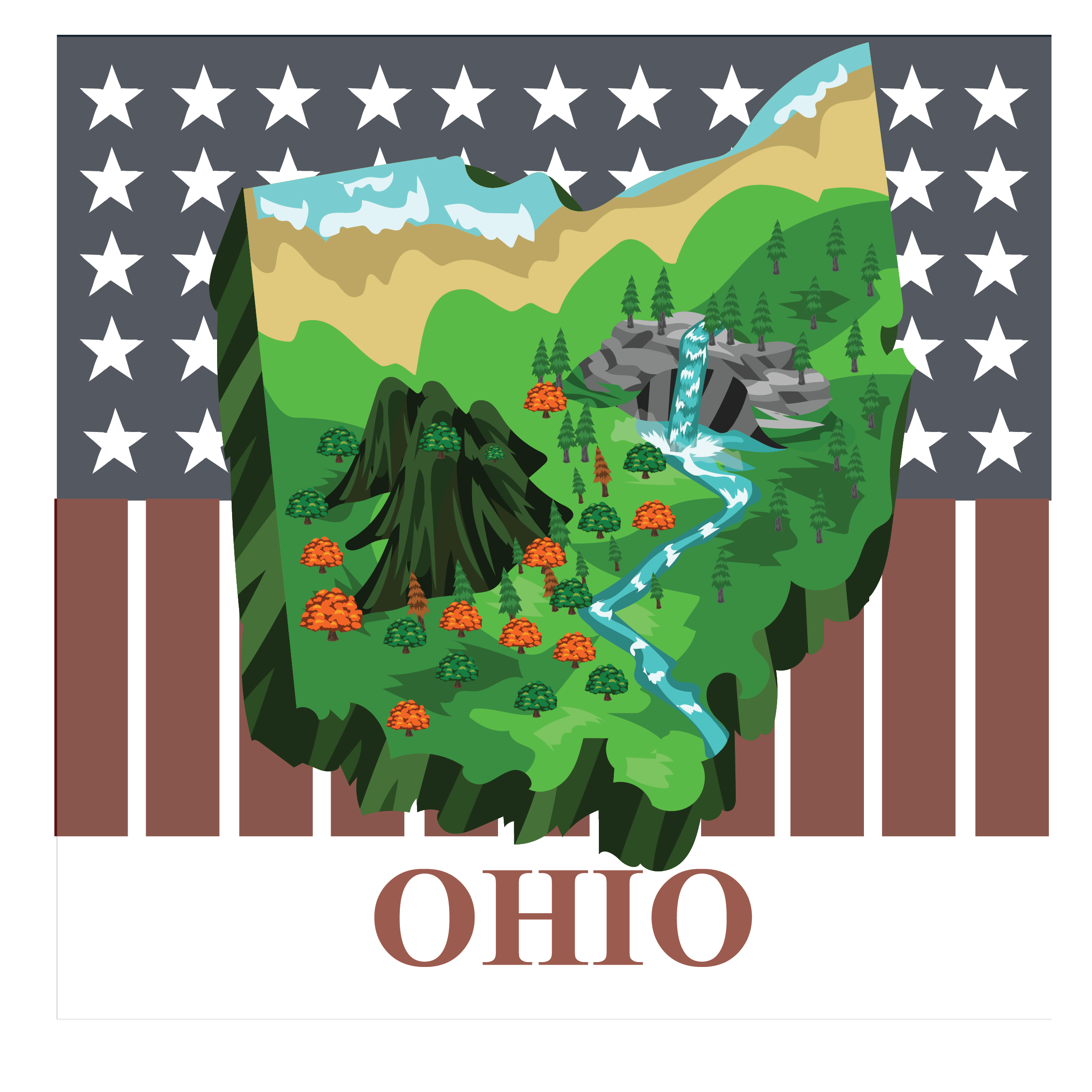 3d pictomap of Ohio