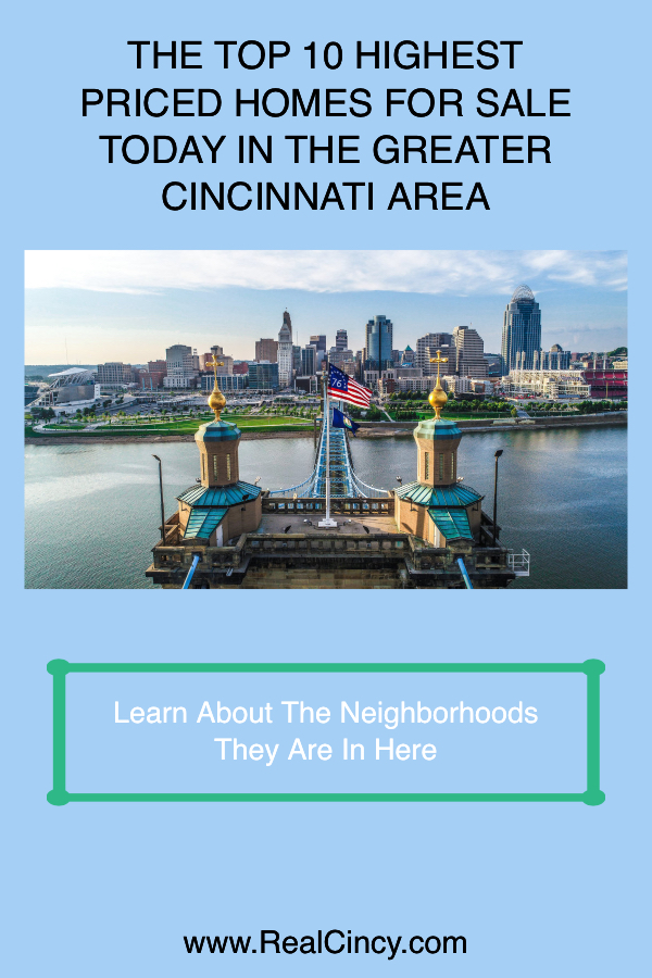 THE TOP 10 HIGHEST PRICED HOMES FOR SALE TODAY IN THE GREATER CINCINNATI AREA