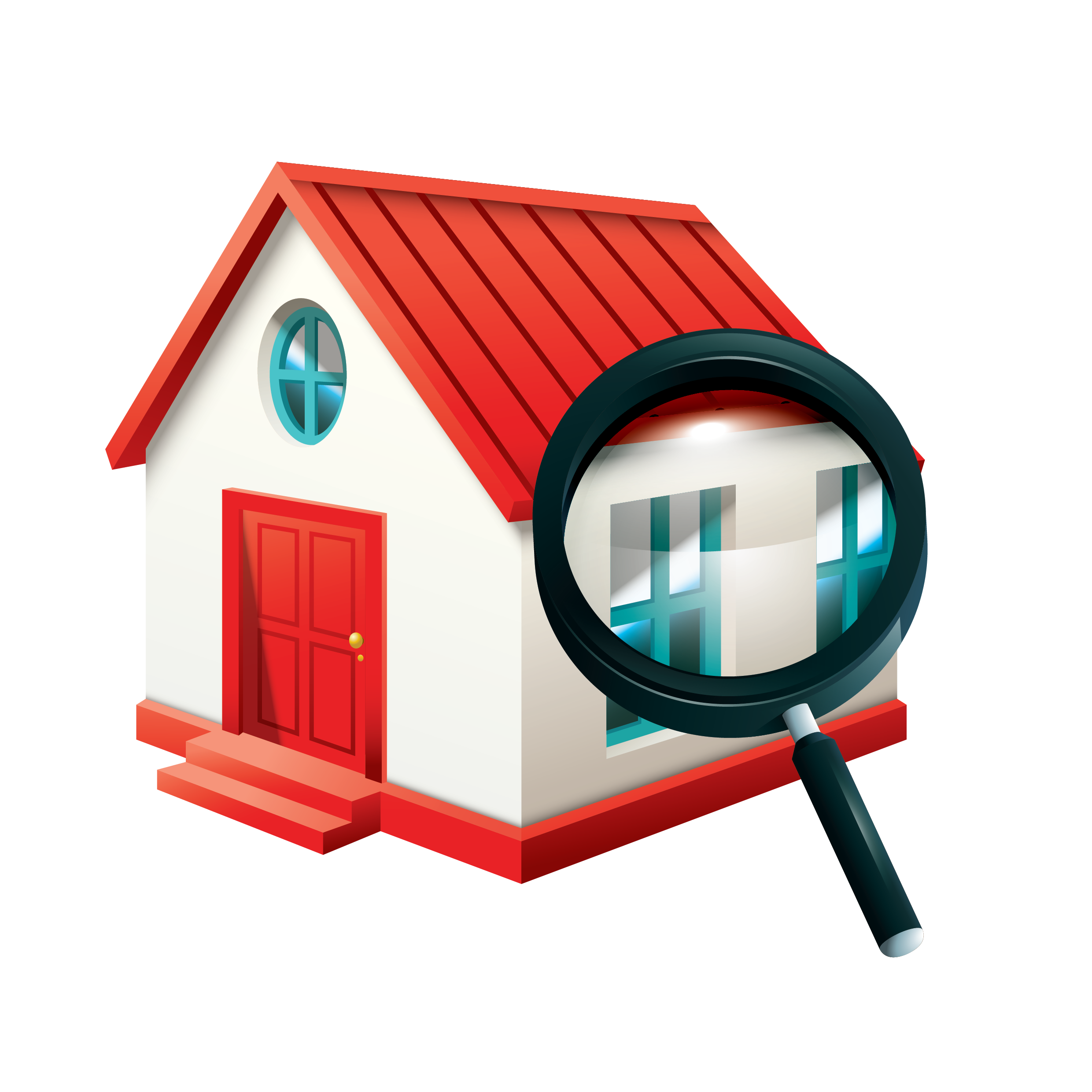 house being seen by magnifying glass