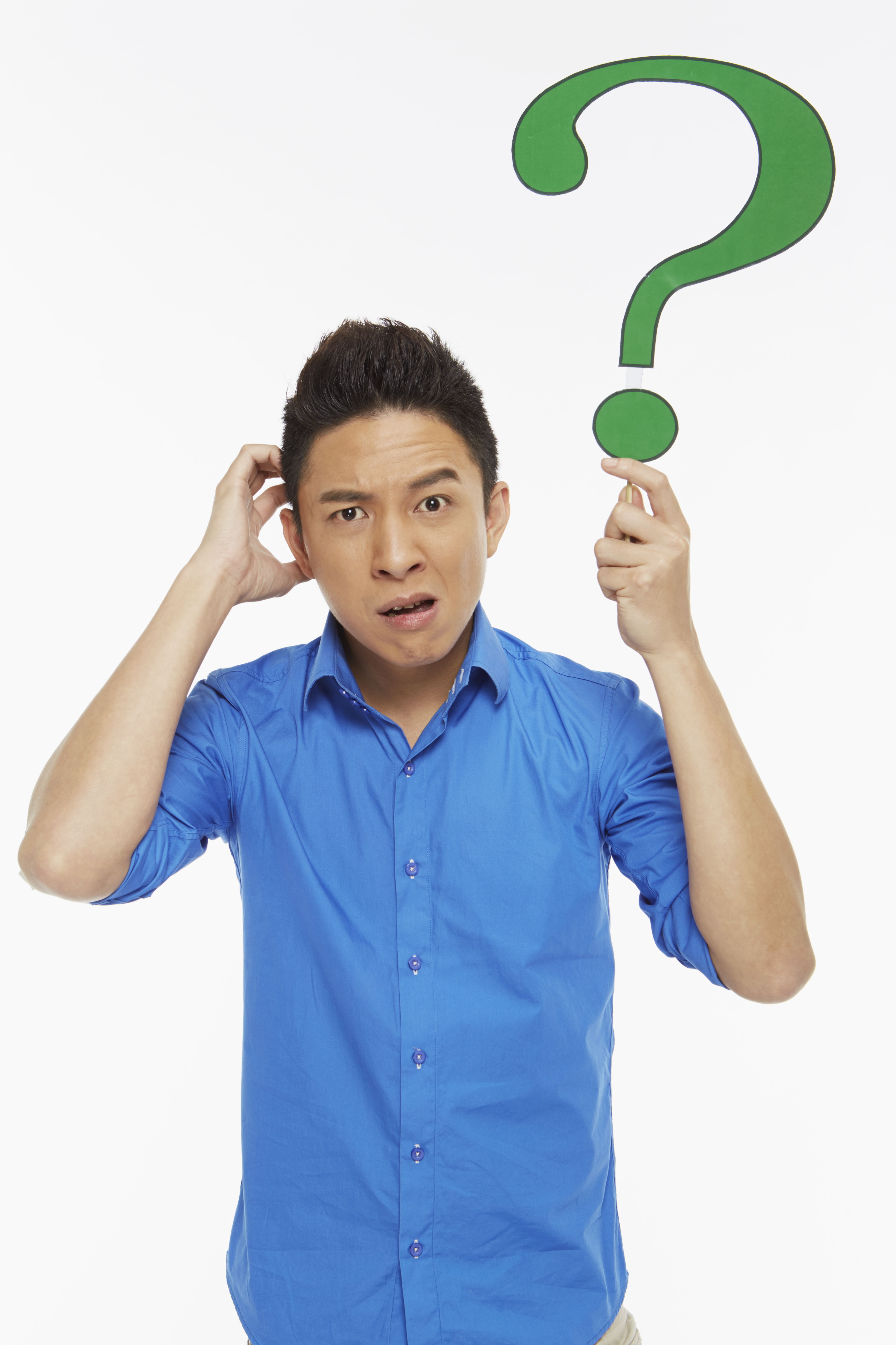 man holding question mark