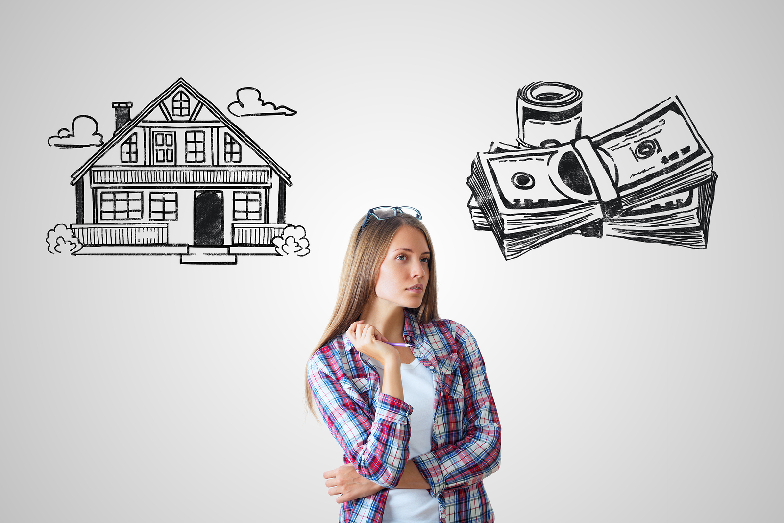 woman contemplating house and money
