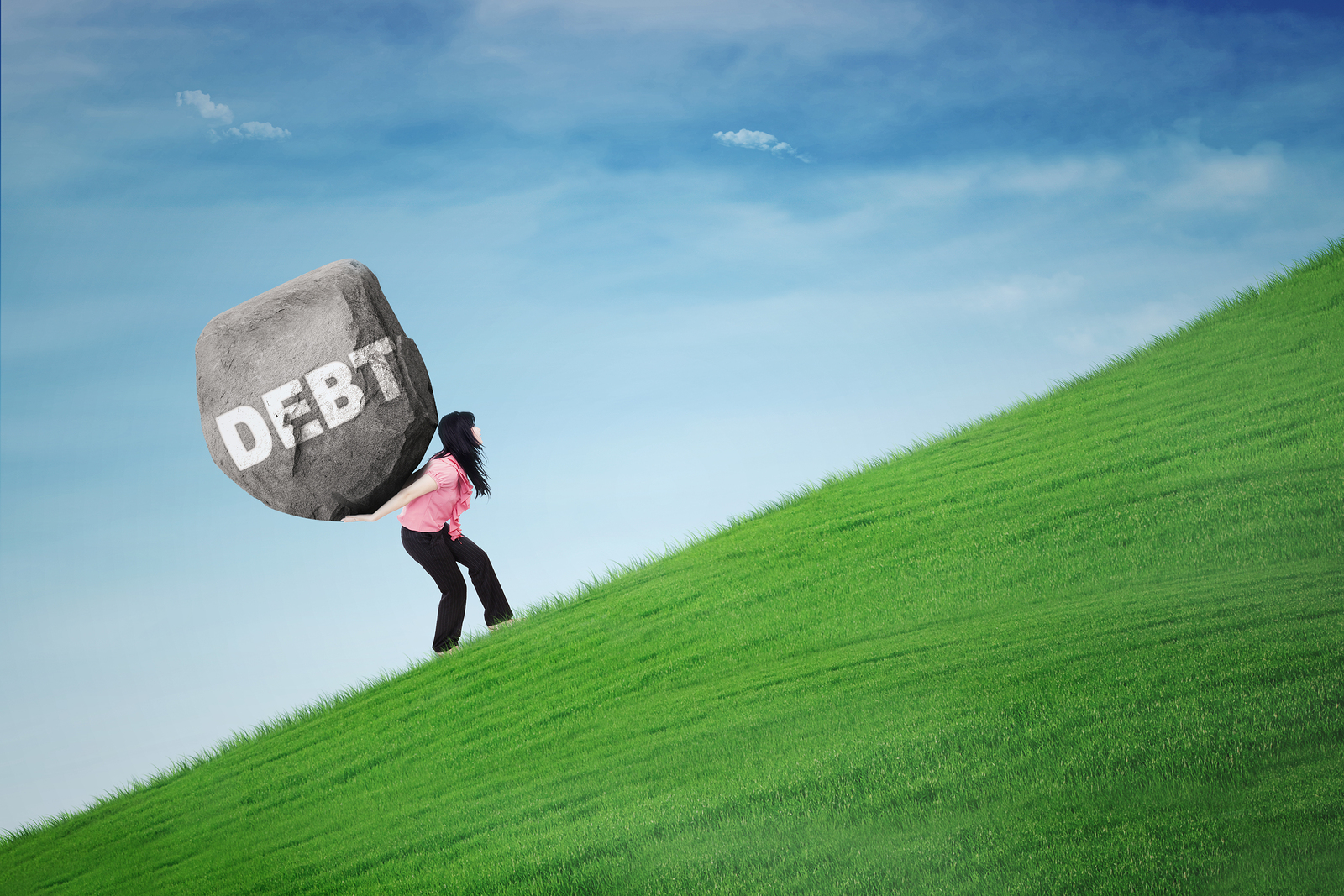 picture of woman with debt boulder on her back