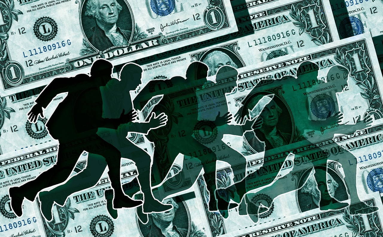 picture of shadow running on money