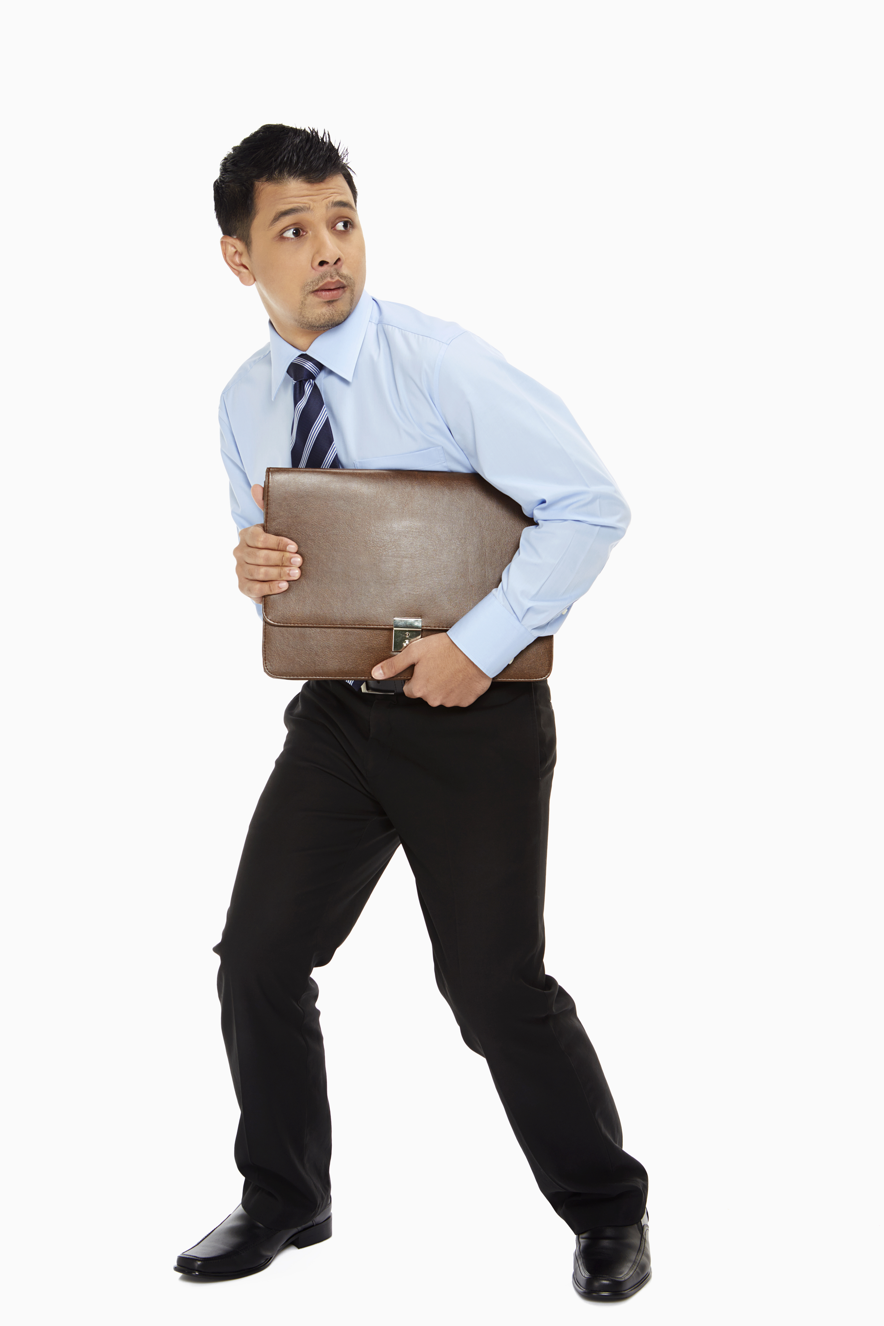 man holding briefcase tight