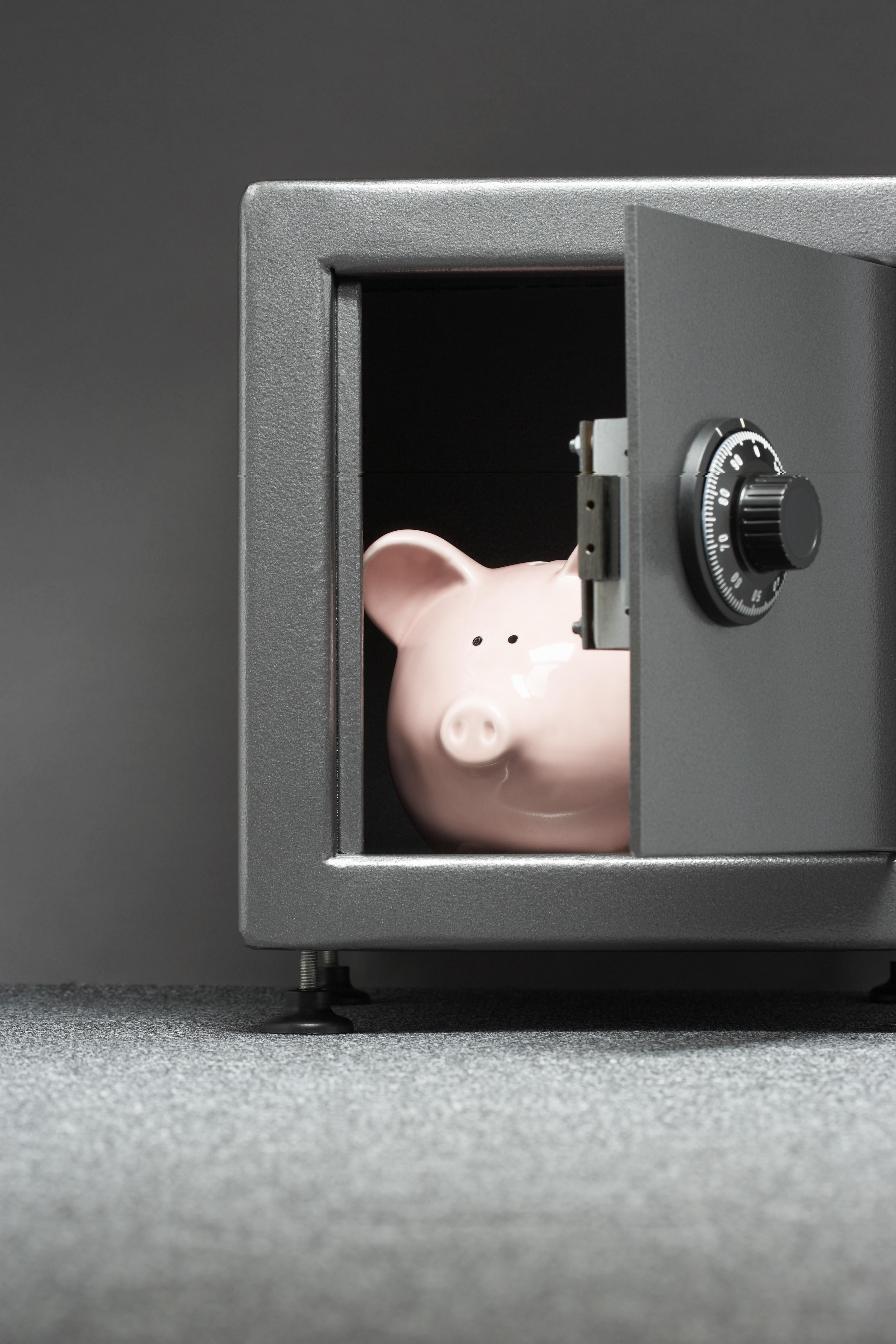 piggy bank safe in a safe