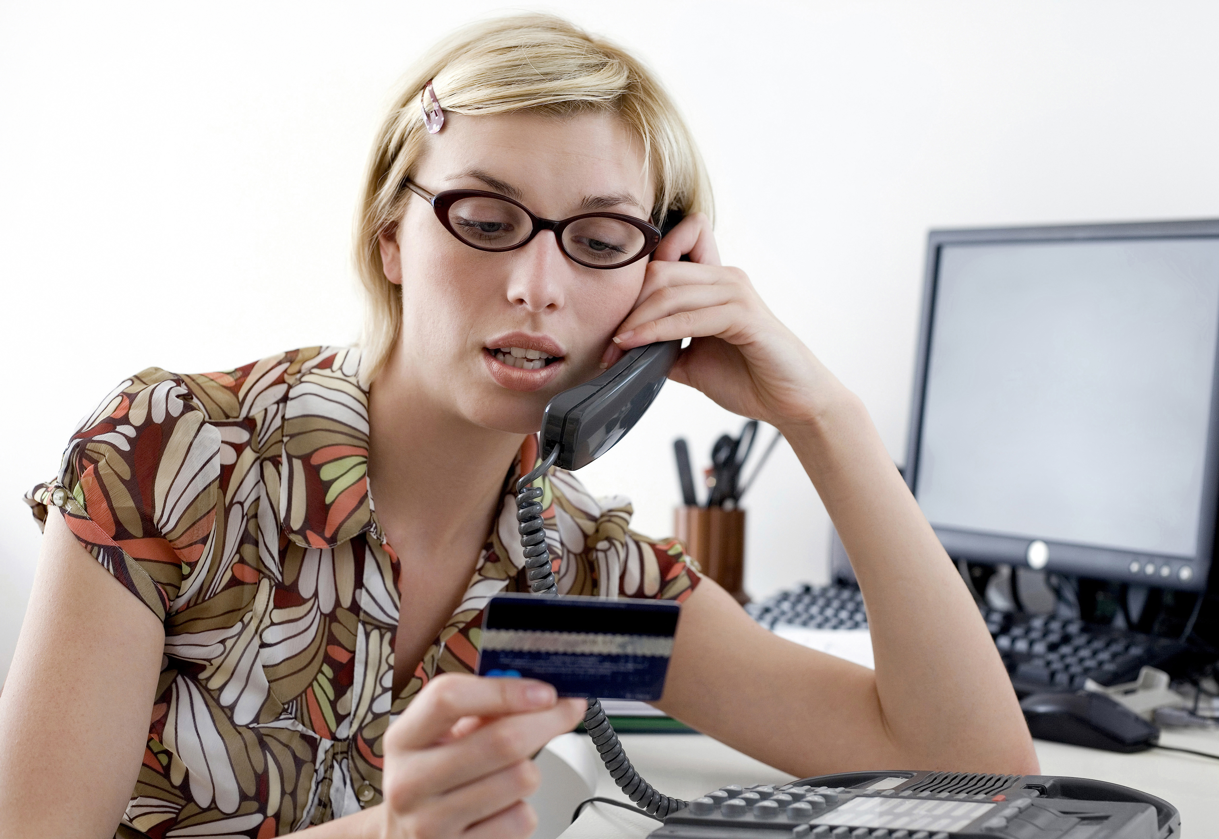woman calling credit card company