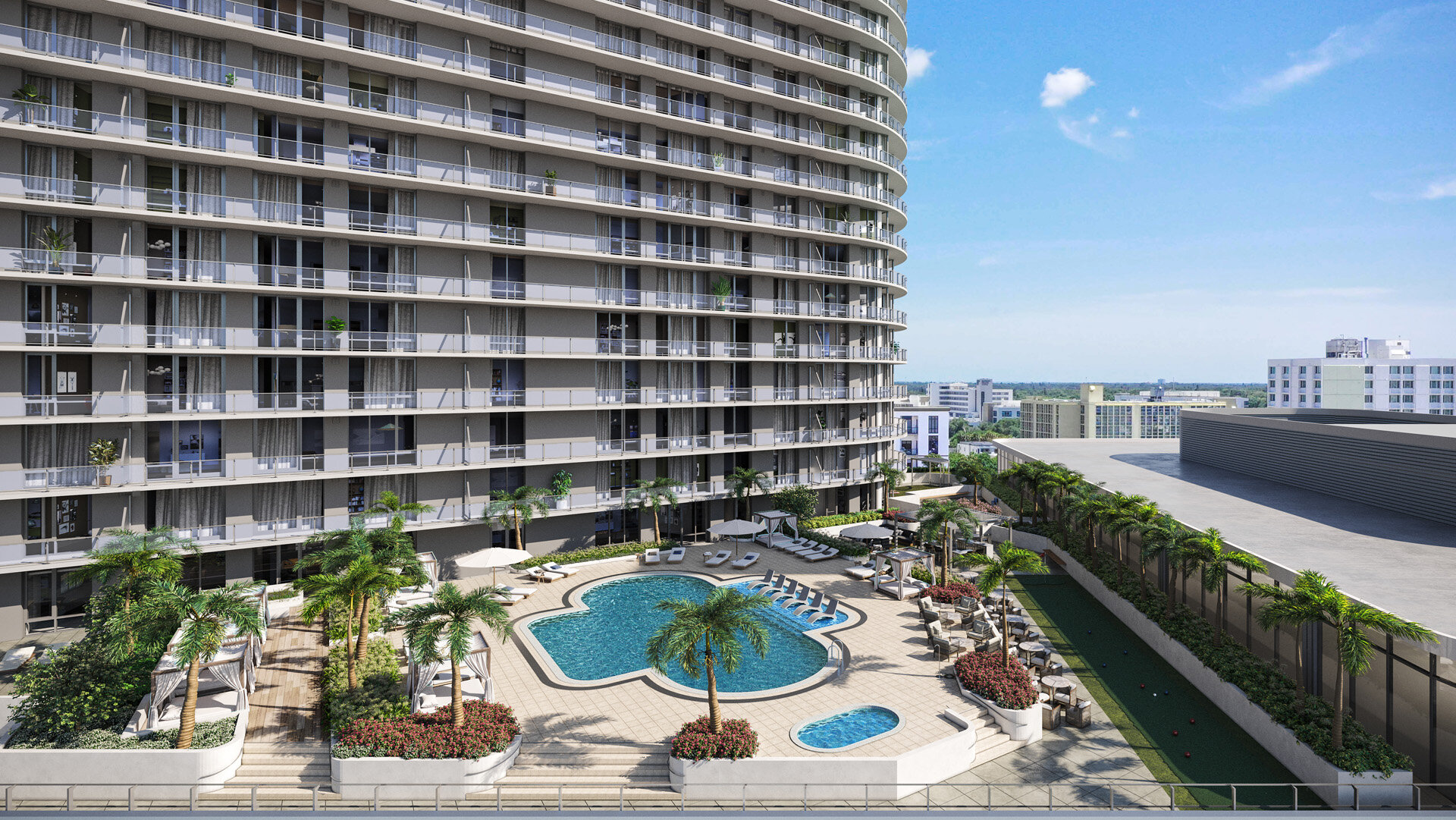 Rendering of swimming pool at 400 Central condos in St. Petersburg, FL
