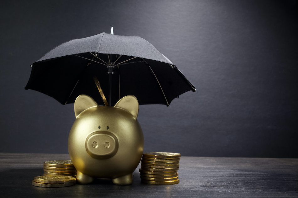Achieving Financial Security Piggy Bank With an Umbrella