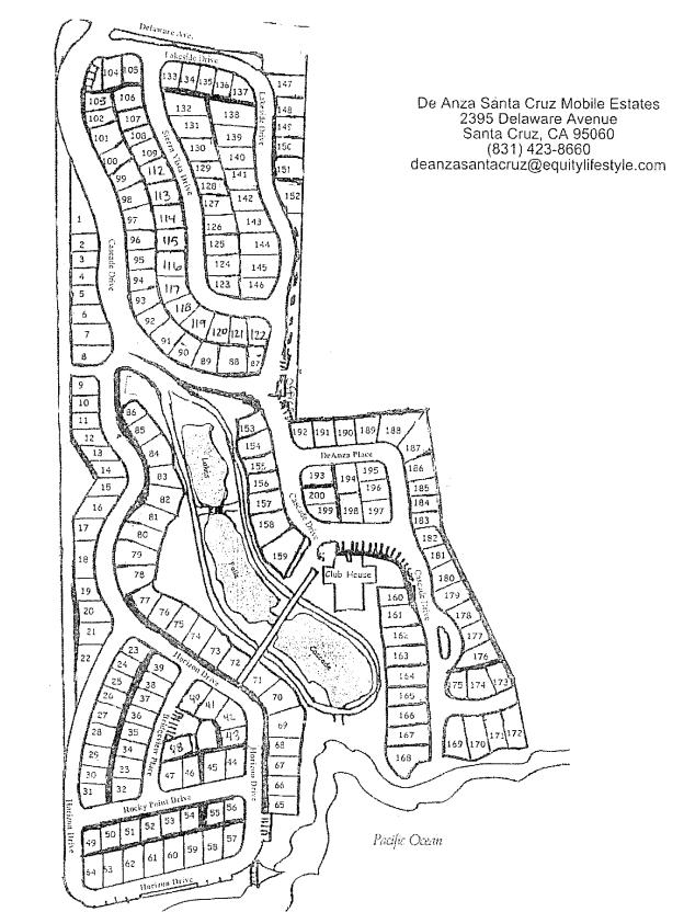 De Anza Santa Cruz Mobile Homes Estates Map
