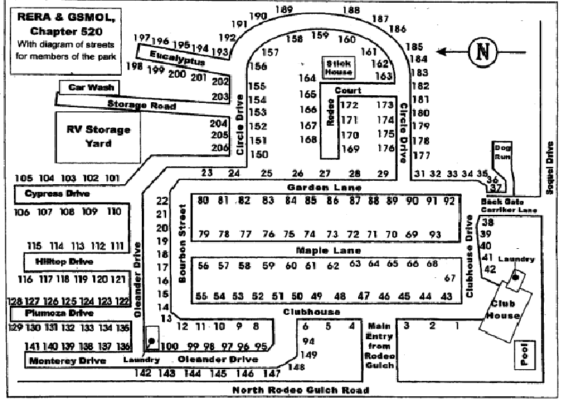 rodeo gulch mhp space number with diagram of streets