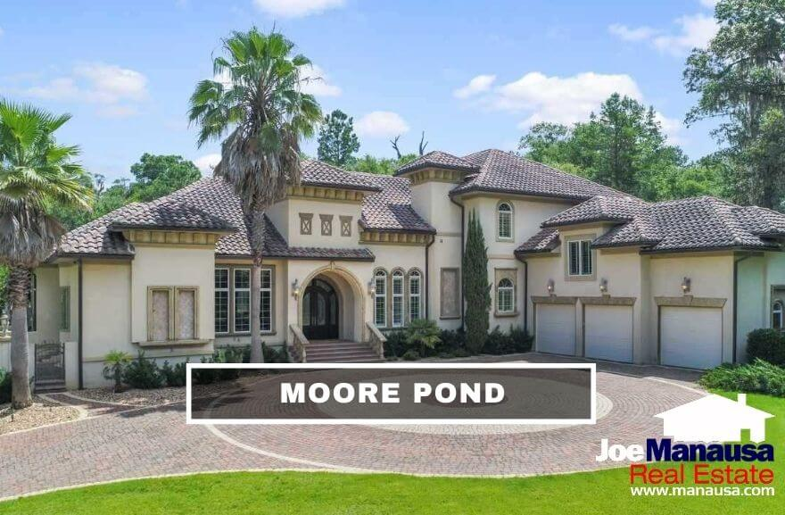 Moore Pond is a Northeast Tallahassee luxury home neighborhood containing roughly 50 large homes on small acreage parcels built around Moore Pond.