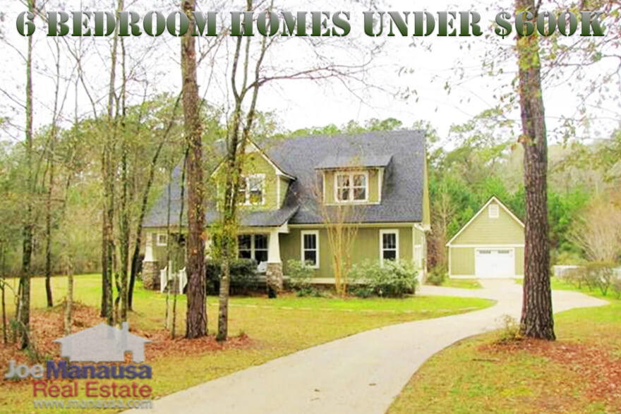 While $600K ain't cheap, there are just not many homes in the Tallahassee real estate market that have 6 bedrooms, so you have to know where to look. Fortunately for you, you have come to the right place