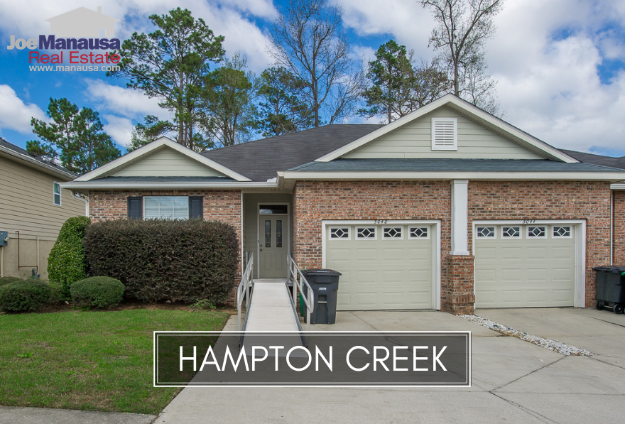 Hampton Creek is a popular SE Tallahassee neighborhood filled with roughly 200 attached and detached single family homes.