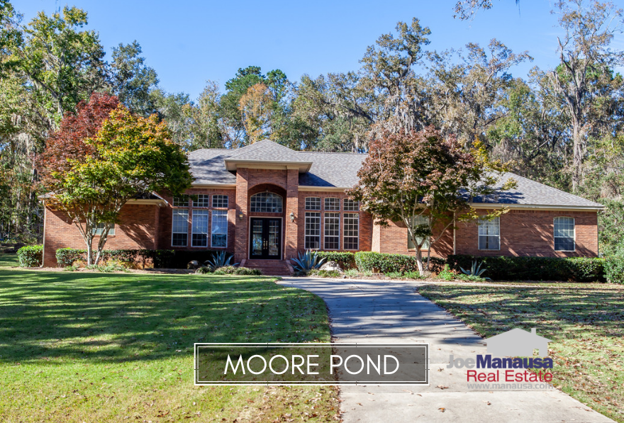 Moore Pond is a rare gated community in the 32312 zip code and features roughly 50 large luxury homes nestled around a small pond in a private setting.