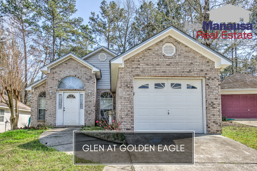 Situated just across the lake from the Golden Eagle golf course and enjoying access to A-rated public schools, the three and four bedroom homes in the Glen at Golden Eagle are very popular these days.