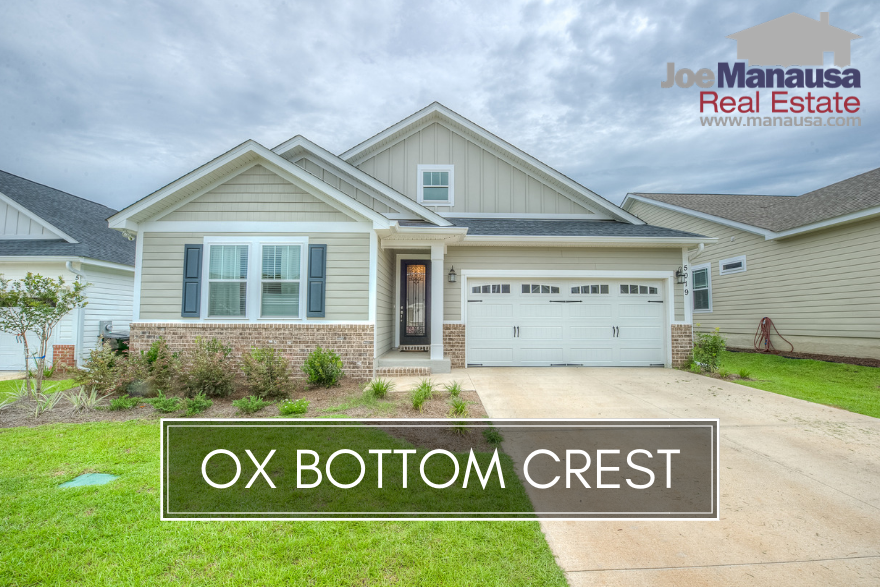 Ox Bottom Crest is a new construction neighborhood in NE Tallahassee, with homes that began selling just two years ago