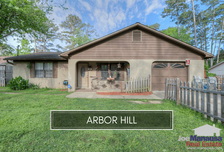 Arbor Hill is a popular NE Tallahassee neighborhood of 400 single-family detached homes and 100 single-family attached patio homes.