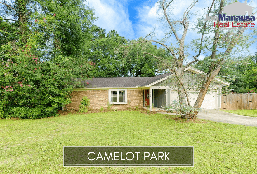 Camelot Park in downtown Tallahassee contains 366 four and three-bedroom detached single-family homes on ample sized lots.