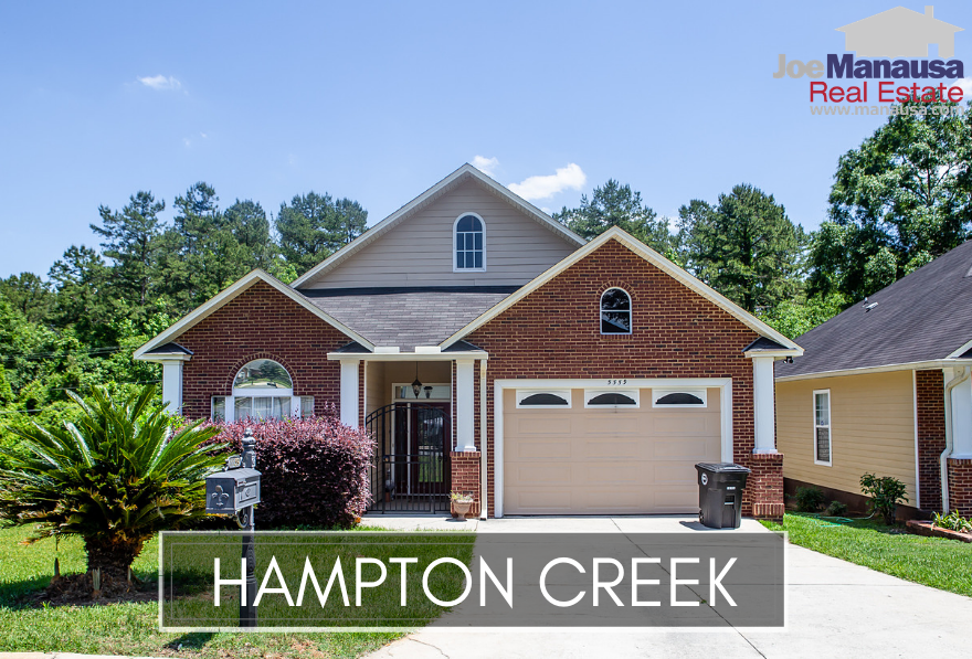Hampton Creek is a popular neighborhood in Southeast Tallahassee that is home to attached and detached single-family homes with prices that remain well below $200K.