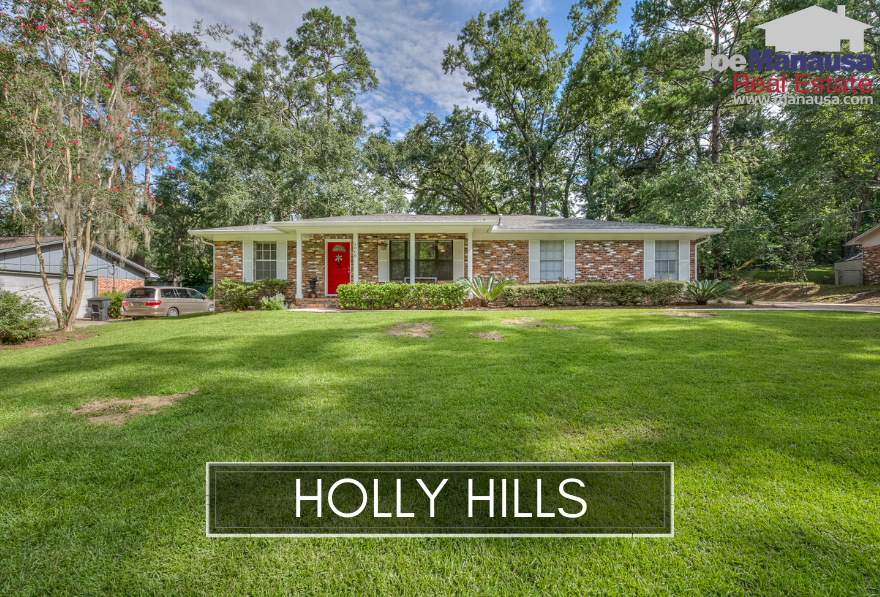 Holly Hills in Northwest Tallahassee consists of 338 three and four-bedroom homes on nice-sized lots that will excite today's buyers.