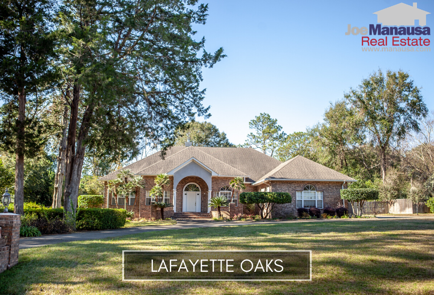 Lafayette Oaks, Tallahassee's first gated community, is loaded with large lots, homes of all sizes and ages from new to fifty years old.