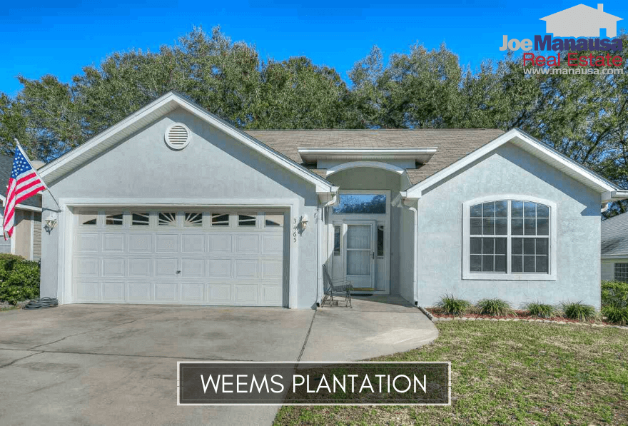 Weems Plantation is a neighborhood of roughly 350 four and three-bedroom single-family detached homes that were mostly built 15 to 20 years ago.