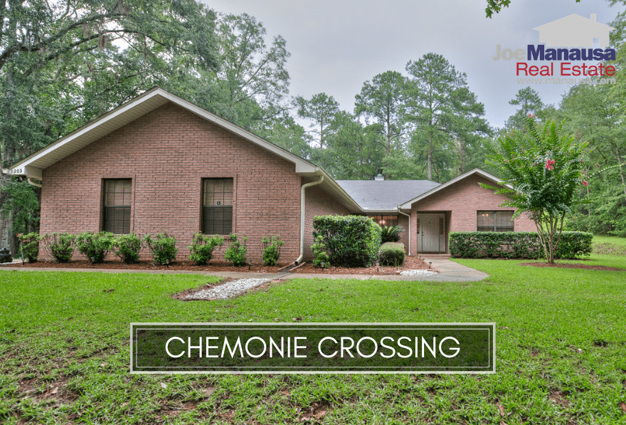 Chemonie Crossing is a popular Northeast Tallahassee neighborhood that contains roughly 200 large homes on acreage parcels of up to nearly ten acres each.