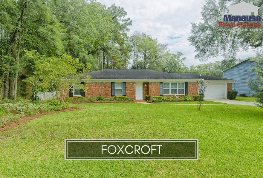 Foxcroft is a hot little neighborhood of just over 310 three and four-bedroom homes on generously-sized, maturely landscaped parcels of land.