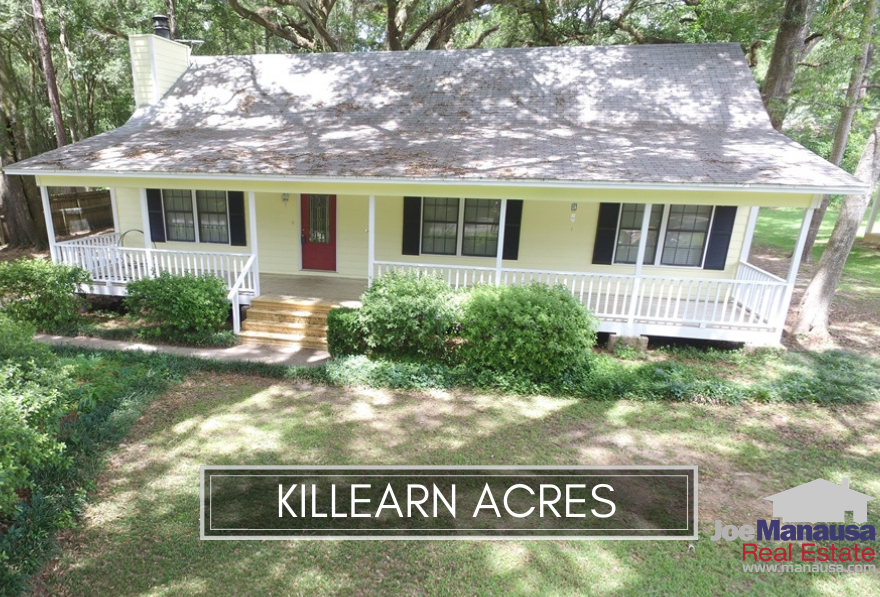 Killearn Acres is a popular NE Tallahassee neighborhood filled with 1,450 four and three-bedroom homes with prices very close to Tallahassee's median single-family detached home price.