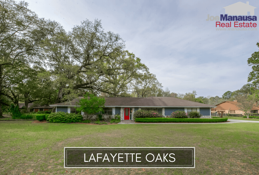 Lafayette Oaks is a popular Northeast Tallahassee containing 316 homes that were built from the 1970s to the present.