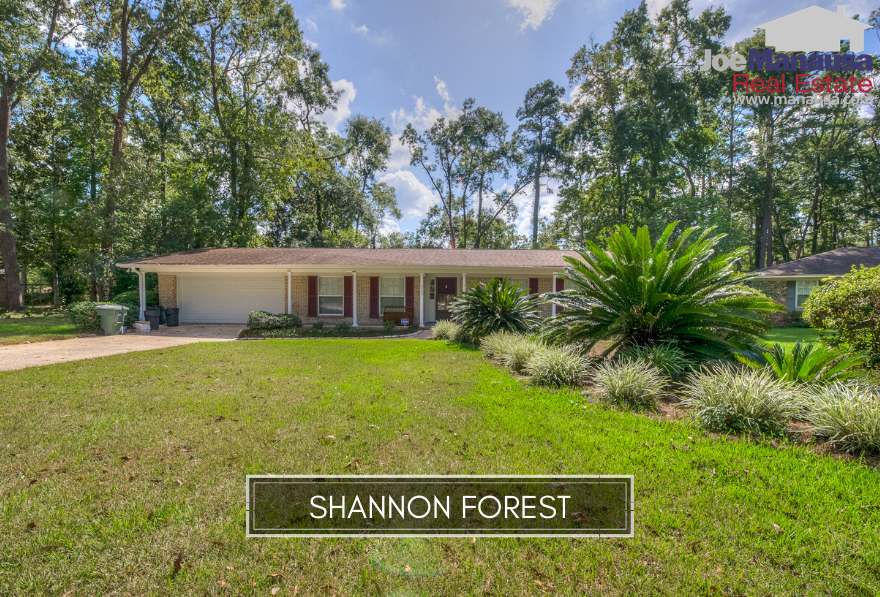 Shannon Forest is a popular NE Tallahassee neighborhood filled with 275 three and four-bedroom homes on nearly 1/2 acre, and currently priced well-below replacement cost.
